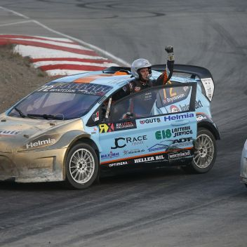 Thomas Bryntesson after his victory in RallyX Nordic. Photo: Tony Welam